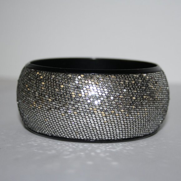 Big blingy silver bangle bracelet